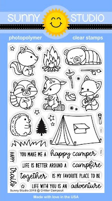 Sunny Studio: Critter Campout Squirrel, Raccoon, Bear, Deer, Fox & Hedgehog Camping 4x6 Clear Stamps