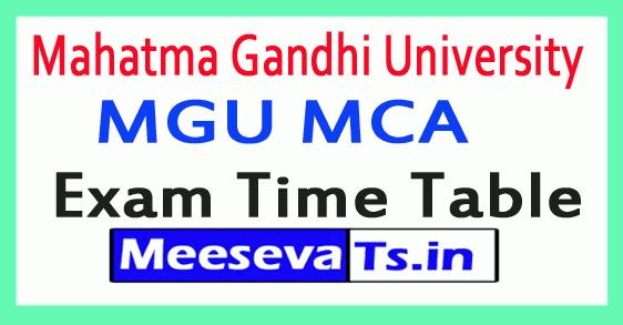 Mahatma Gandhi University MGU MCA Exam Time Table