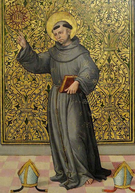 São Bernardino de Siena, autor de muitos contos morais. Pintor anônimo espanhol