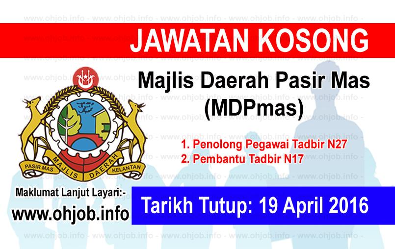Jawatan Kerja Kosong Majlis Daerah Pasir Mas (MDPmas) logo www.ohjob.info april 2016