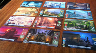 The eponymous wonders in 7 Wonders: Duel the card game