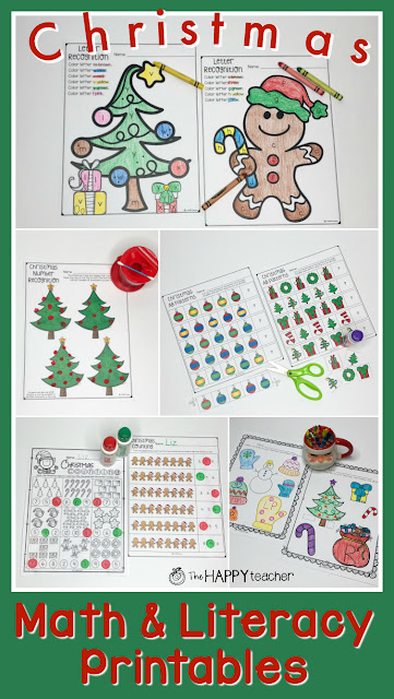 Preschool and Kindergarten math and literacy activities for Christmas