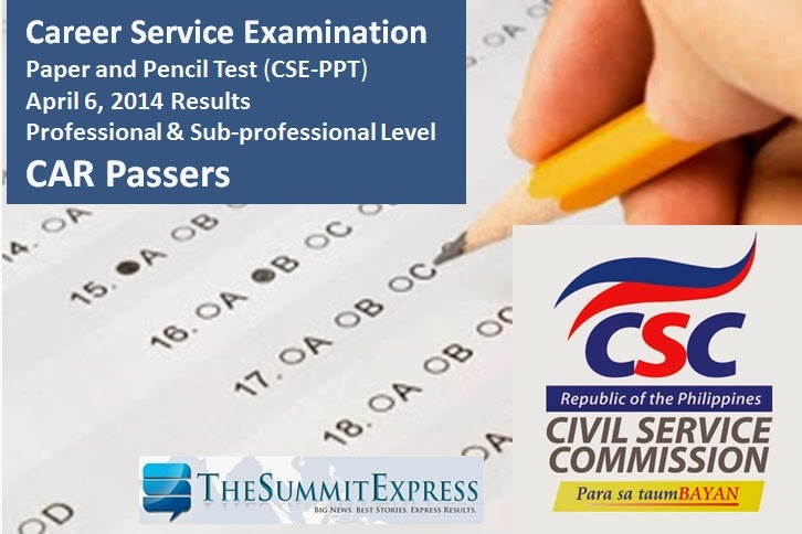 CAR Passers: April 2014 Civil service exam results (CSE-PPT)