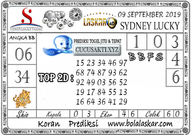 Prediksi Sydney Lucky Today LASKAR4D 09 SEPTEMBER 2019