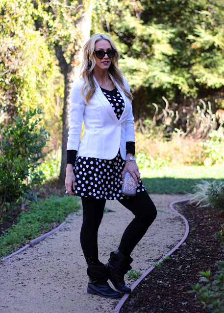 black and white polka dot dress with blazer