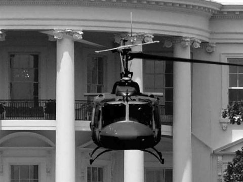 Army PFC hovers in a UH-1 Iroquois helicopter above the White House lawn in Washington, D.C. in 1974