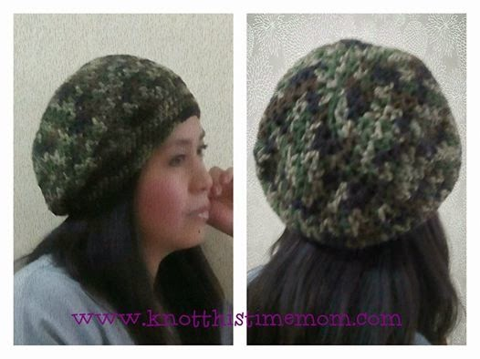 Adult's V-sticth Camo Slouch Hat  Free Pattern