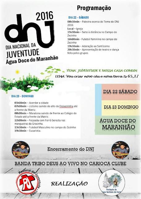 DIA NACIONAL DA JUVENTUDE EM ÁGUA DOCE DO MARANHÃO - 22 E 23 DE OUTUBRO
