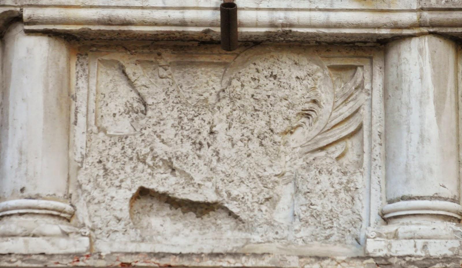 Defaced leone marciano, Campo SM Mater Domini, Venice