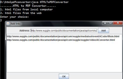 Java programs: HTML To PDF Converter