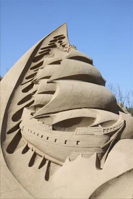Escultura de arena de barco