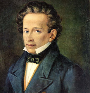 Giacomo Leopardi, depicted in a portrait in 1820