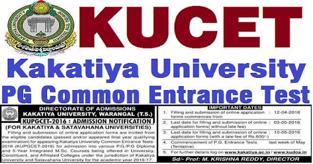 KU PGCET,KUCET,Kakatiya University PGCET