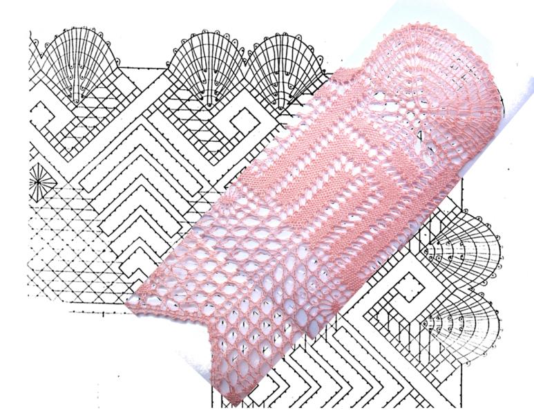 fotomontaje esquina con pluma doble con remate en trenza de 4 cabos sobre esquema-picado puntilla con esquina de encaje de bolillos número 2