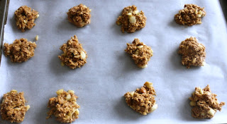 cookie dough dropped onto cookie sheet