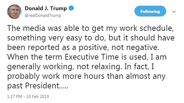 'I am generally working, not relaxing': Trump defends 'executive time'