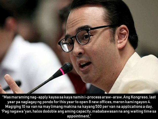 "The  Department Of Foreign Affairs Consular Services has been criticized for slow passport processing, from scheduling of appointments up to releasing of passports. As a solution, Foreign Affairs Secretary Alan Peter Cayetano said the DFA is now planning on maximizing the use of modern technology to serve the Filipino people better— by making the passport renewal available online and it could be made possible by 2019.  Advertisement         Sponsored Links            (Translation: You will just need to take a photo of your passport and a selfie, then we will compare it. Afterwards, we can already mail you the passport.)  The service, however, is limited to those who applied beginning August 2016 as the previous passport contractor turned over corrupted and obsolete data, Cayetano said.  He added the Department of Foreign Affairs (DFA) has to take biometrics again.  ""Once we have the biometrics, pwede nang hindi magpakita sa offices and we can do the renewals online,"" Cayetano said.   Normal passport processing by June  Cayetano also said two new regional consular offices will open in March, while six passport on wheels with five machines each will arrive by June to help normalize the processing of passports and address 60 to 80 percent of the backlog.    He said six more regional consular offices will open nationwide between March and June.      To accommodate the expected increase in the demand of passport renewals and issuance in April and May, the consular office along ASEANA will be open until Saturday.    The Foreign Affairs Secretary said the DFA is also looking at increasing the operating hours of other consular offices.  Read More:  Beware Of  Fake Online Registration System Which Collects $10 From OFWs— POEA    Is It True, Duterte Might Expand Overseas Workers Deployment Ban To Countries With Many Cases of Abuse?  Do You Agree With The Proposed Filipino Deployment Ban To Abusive Host Countries?"