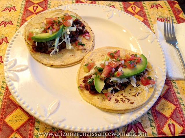 Ground Beef Tacos with Tangelo Adobo Sauce, Pico de Gallo, and Avocado (2)