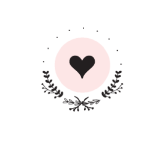 wedding logo featuring leafy vines and a heart