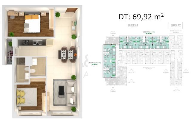 thiết kế căn hộ golf view tower 69.92