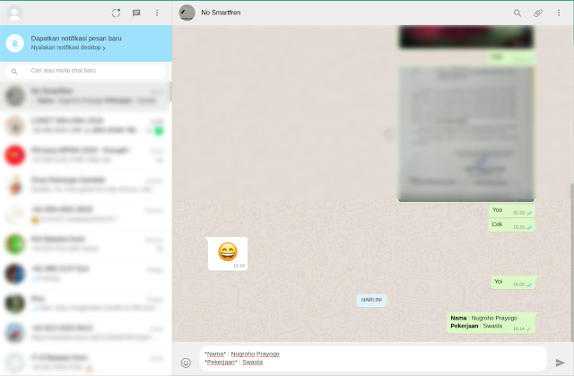 WhatsApp Web : Cara Membuat Baris Baru Dengan Tombol Enter