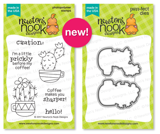 Cuppa Cactus | 3x4 Cactus and Coffee themed stamp set and die set by Newton's Nook Designs #newotnsnook