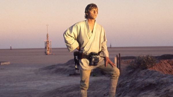 Luke Skywalker on his home planet of Tatooine