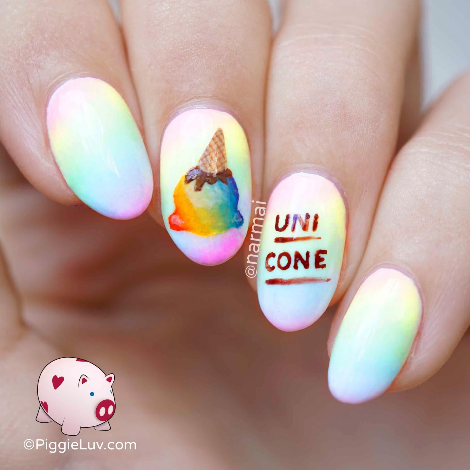 PiggieLuv: Rainbow uni-cone nail art