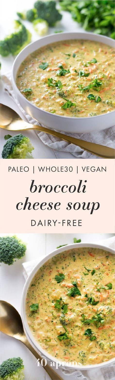 Cheesy Vegan Broccoli Soup (Whole30, Paleo, Dairy Free)