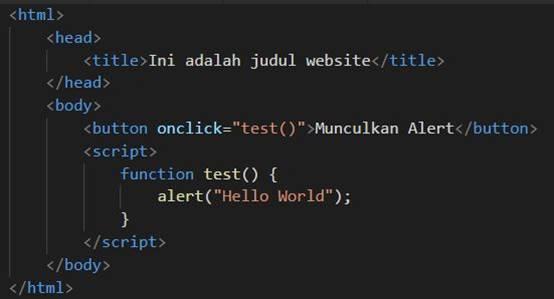 Penggunaan Javascript di Dalam Tag Body