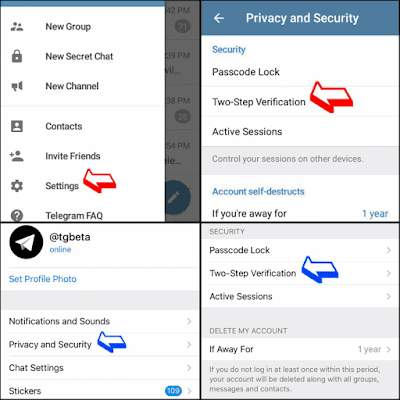 Mengaktifkan password telegram