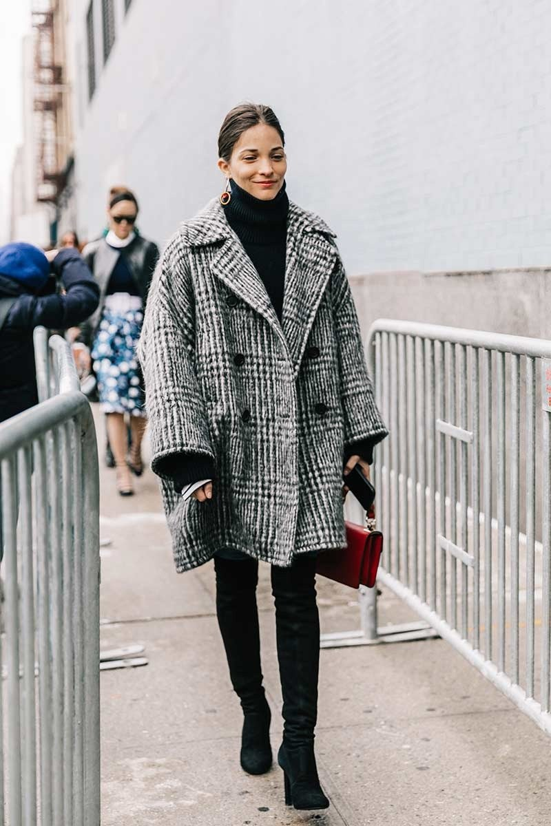 Stay Warm In Style With This Chic Winter Outfit Idea — Checked Coat, Black Turtleneck Sweater, and Over-The-Knee-Boots