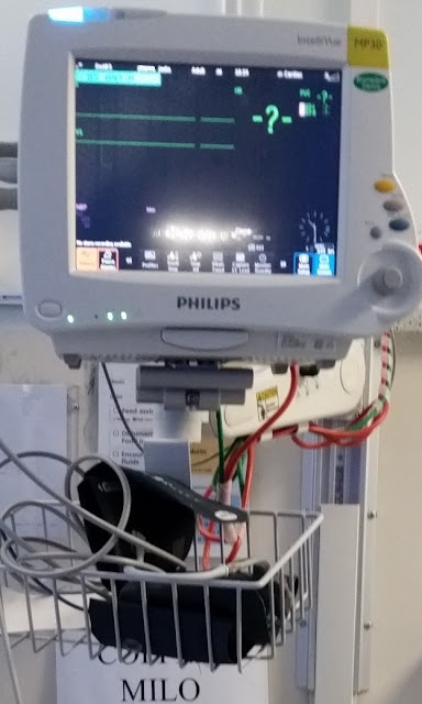 "The heart monitor showing flat lines on the screen where heart beat waves should be! A large question mark has appeared in the top right quadrant of the screen. Underneath the monitor is a basket containing a blood pressure cuff and fingertip pulse sensor.  The warning sign ""No tea/coffee/milo"" can be seen on the wall behind and beneath the basket."