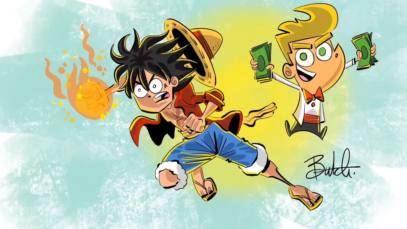 Luffy z anime One Piece jak z Wróżków chrzestnych