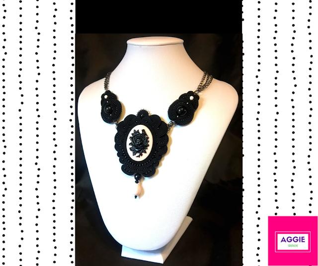 noir romantic soutache gothic black necklace rose