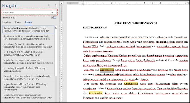 Navigasi untuk menyorot semua kemunculan karakter-karakter tersebut dalam dokumen