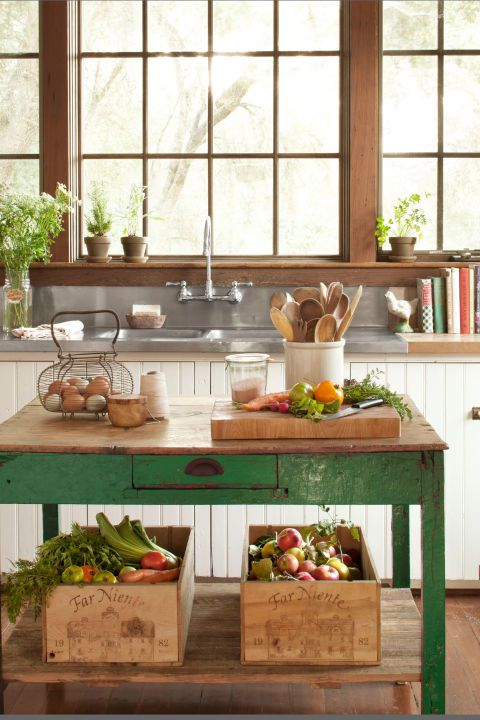 old green table in kitchen