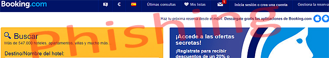 Booking.com vítima de phishing