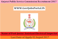 Gujarat Public Service Commission Recruitment 2017– Junior Assistant Electrical Inspector