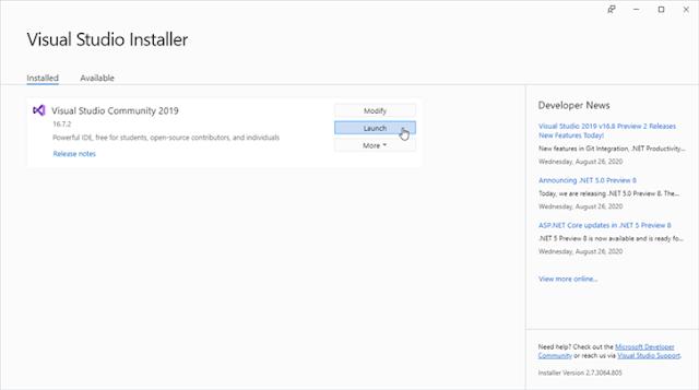 Visual Studio Réparation de mon installation