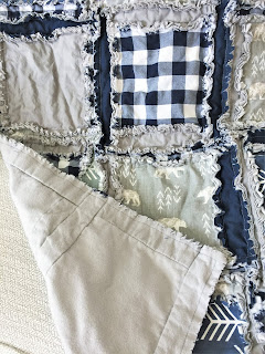 Navy blue and gray bear baby crib bedding and rag quilt