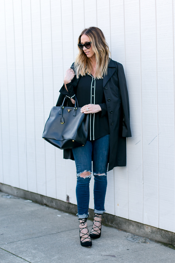 black trench coat style parlor girl