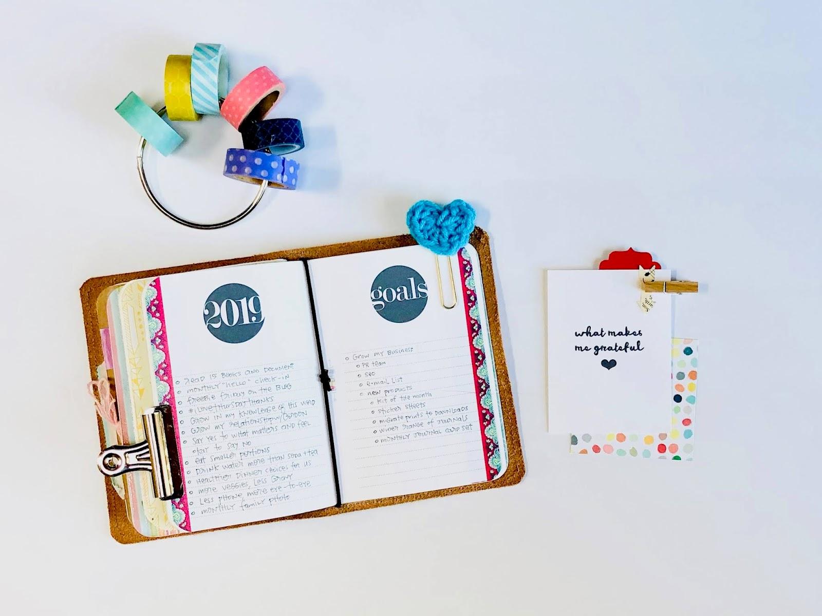 #travelers notebook #goals #goals worksheet #free #printable #download #2019 #midori #A6 #passport #field notes #micro