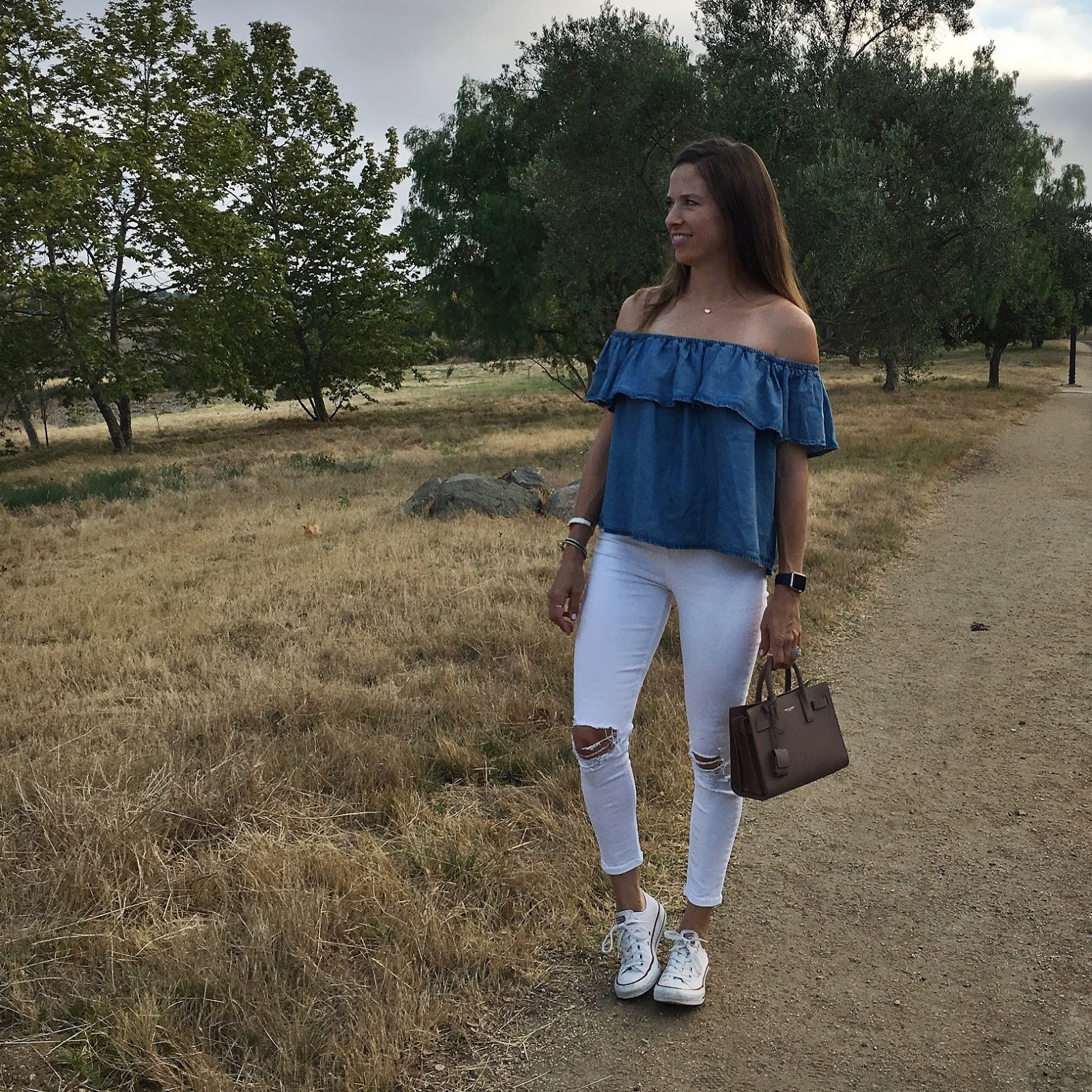 chambray off the shoulder outfit