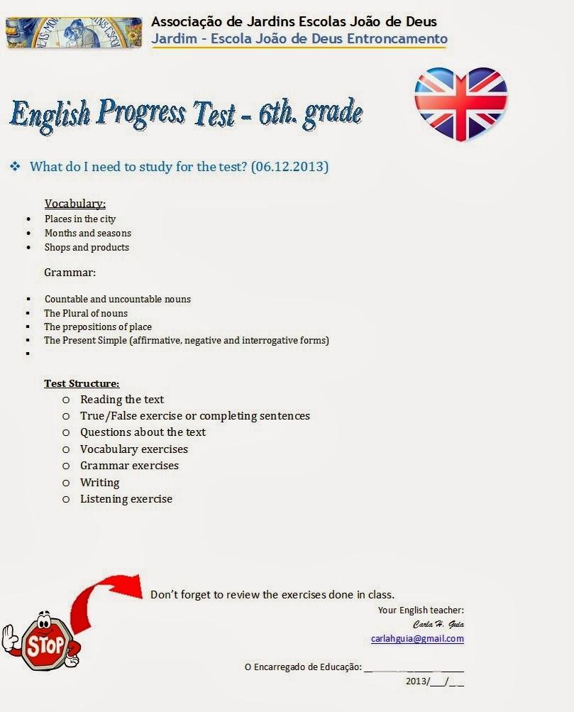 medium resolution of O 6.º Ano do Entroncamento: Matriz do teste de Inglês