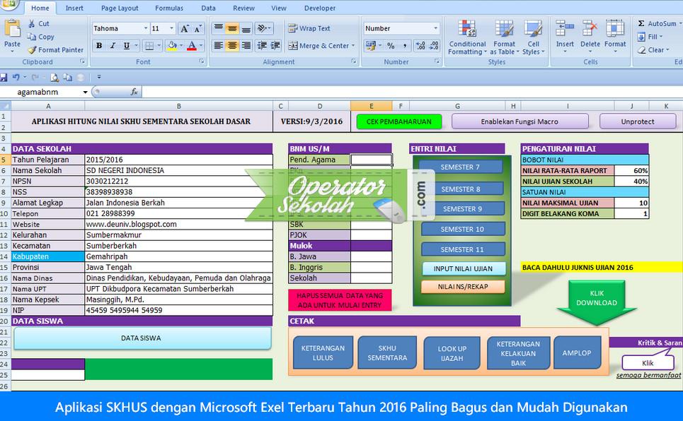 Aplikasi SKHUS dengan Microsoft Exel Terbaru Tahun 2016 Paling Bagus dan Mudah Digunakan