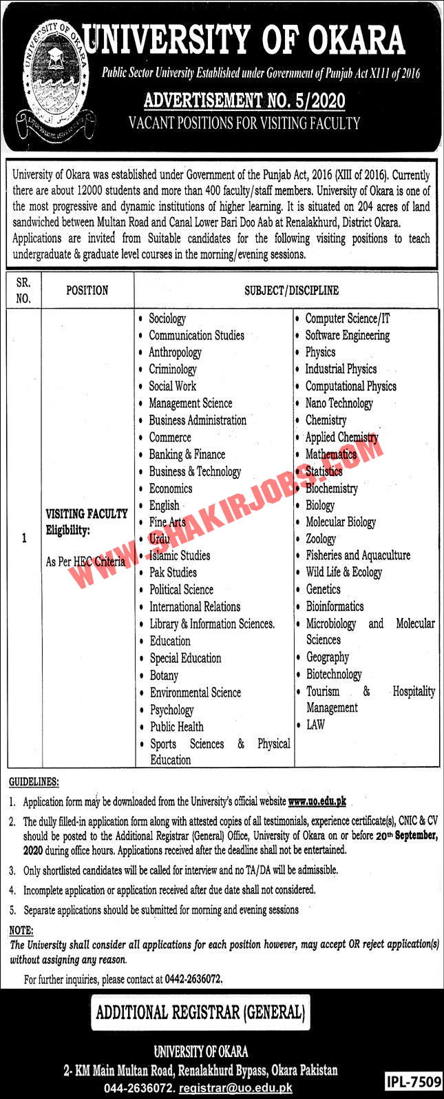 Jobs in University of Okara Jobs September 2020 (451 Posts)