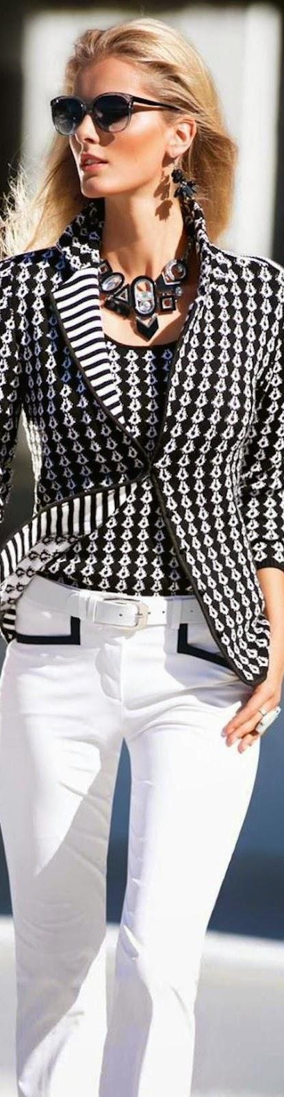 MADELEINE KNIT BLAZER in Black and White