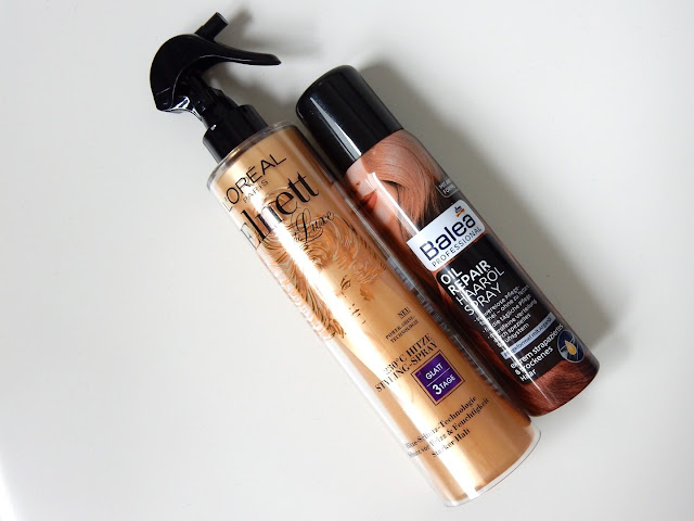 L'Oréal Elnett Hitze Styling-Spray und Balea Oil Repair Haaröl Spray
