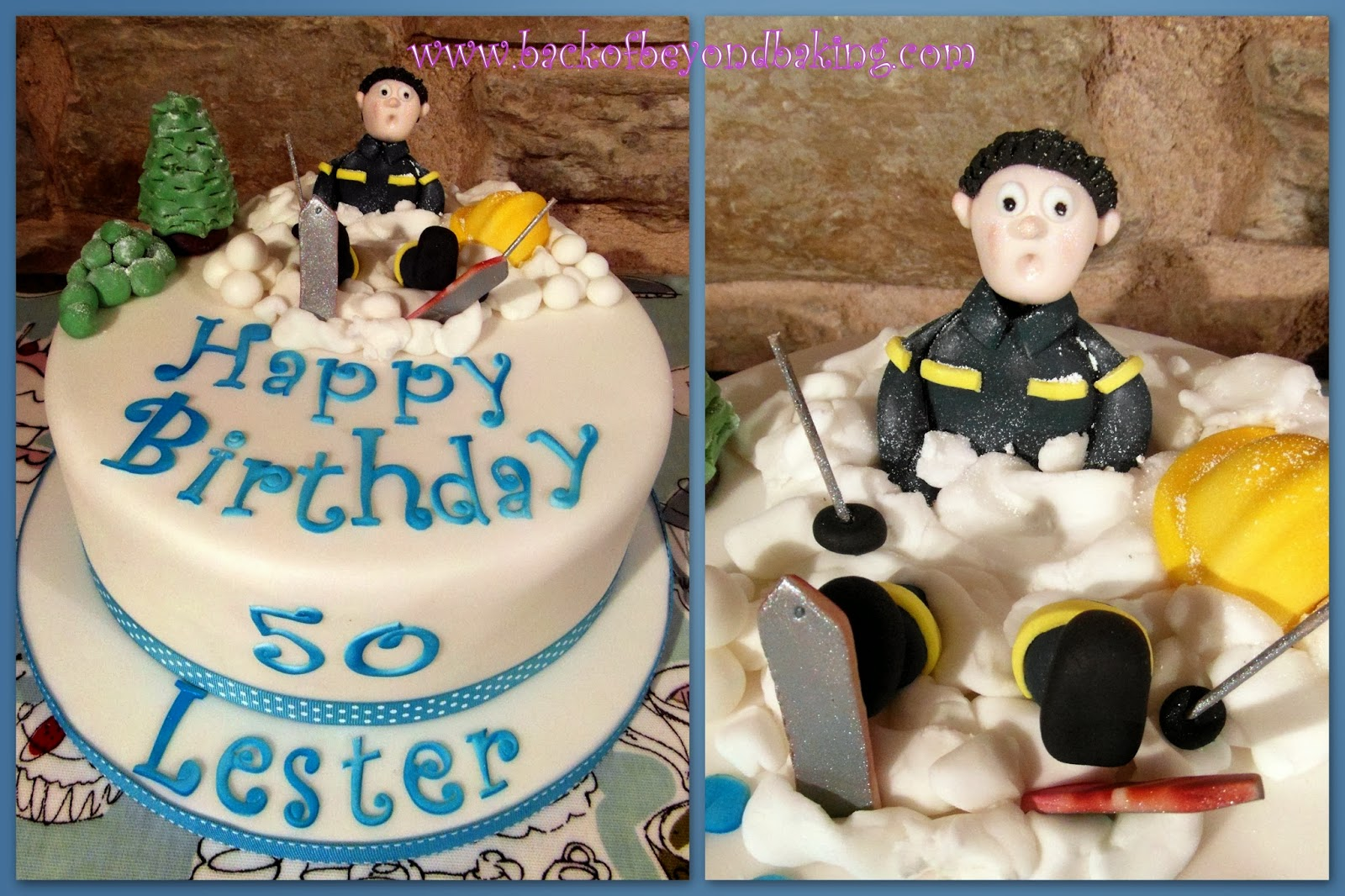50th birthday skier cake